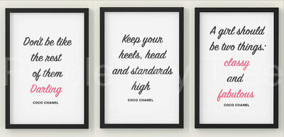 Set Of 3 Fashion Quote  A4 Print Wall Art Typography Grey Poster Home Decor • 4.99£