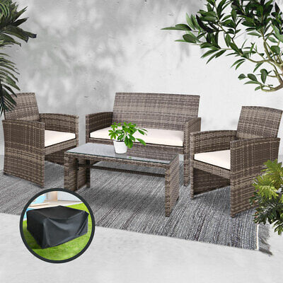 AU398.16 • Buy Outdoor Garden Furniture Lounge Setting PE Wicker Sofa Table Set Chairs Cover