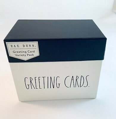 RAE DUNN 24 Greeting Cards Variety Pack And Greeting Box Organizer, Stickers NEW • 29.97£