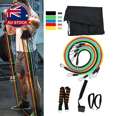 AU12.99 • Buy 11 Pc Resistance Bands Expander Set Tube Gym Band Yoga Latex Workout Fitness