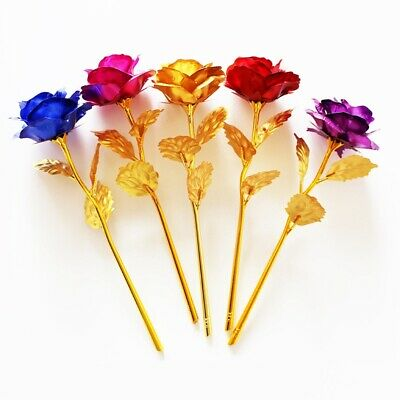 24K Gold Foil Galaxy Roses Flower Valentine's Day Girlfriend Wife Romantic Gift • 4.38£
