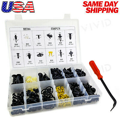 $18.99 • Buy 250pcs Set Plastic Rivets Fastener Fender Bumper Push Clips With Tool For Nissan
