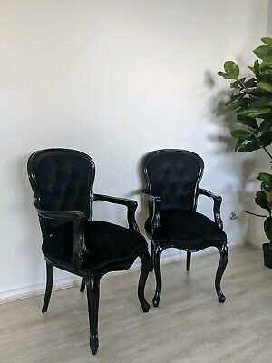 AU300 • Buy PAIR Of French Louis Black Armchairs AS NEW Antique Reproduction X2