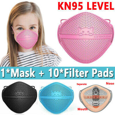 $ CDN13.29 • Buy Silicone Kid Face Maskl W/ Filter Pad Breathable Nose Mouth Separate Mouth Cover