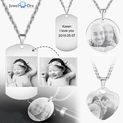 Personalized Photo Mens Necklace Engrave Tag Pendant Cuban Chain Stainless Steel • 7.99£