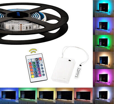 $14.69 • Buy Waterproof Battery Powered RGB LED Strip Light Remote Control Lighting 2m LD1454