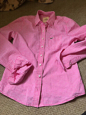 Ladies Hollister Pink And White Checked Shirt. Size Small • 5.99£