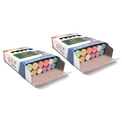 24PCS/2 BOX Nontoxic Chalk 6-Color Washable Art Play For Kid And Adult, PaO6E3 • 3.27£