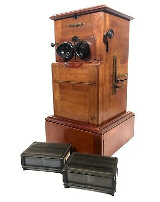 Antique French Mahogany Le Taxiphote / Stereo Viewer Stereoscope & Slide Job Lot • 1,199£