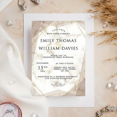 £6.99 • Buy 10 Wedding Invitations Day/Evening Gold Marble