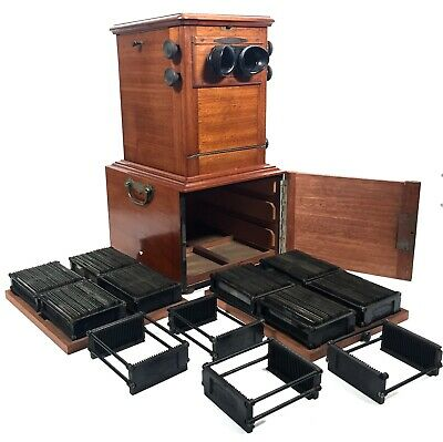 Antique French Mahogany Le Taxiphote / Stereo Viewer / Stereoscope Slide Job Lot • 1,349£