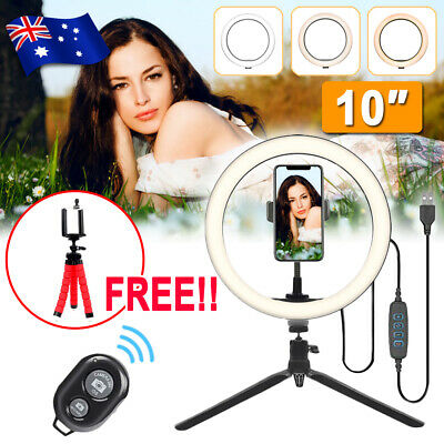AU18.99 • Buy 10 Phone Selfie LED Ring Light Tripod Stand For Youtube Video Live Makeup Remote