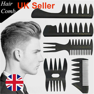 Men Wide-tooth Comb Plane Styling Hair Brush Fork Comb Barber Styling Tool UK  • 3.29£