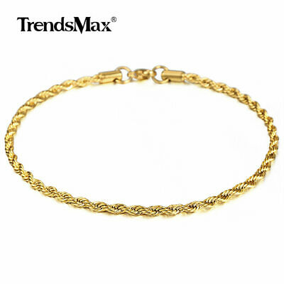 $7.99 • Buy 3mm 10  Gold Plated Stainless Steel Chain Anklet Mens Womens Rope Link Bracelet