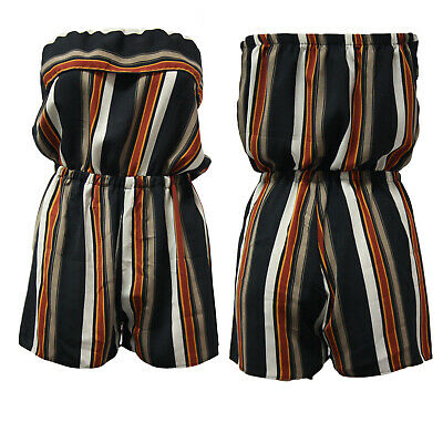 Ladies Playsuit Jumpsuit Stripe Print Shorts Bandeau Elasticated Summer Womens • 8.99£