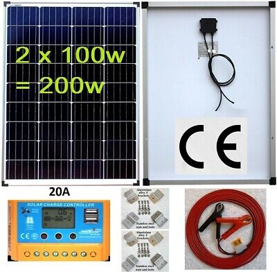 200w 2x100w Solar Panel +20A LCD Charger Controller /w USB + Bracket + 4m Cable  • 188.65£