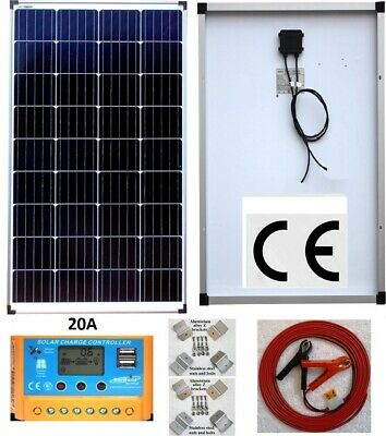 240w 2x120w Solar Panel +20A LCD Charger Controller /w USB + Bracket + 4m Cable  • 212.95£