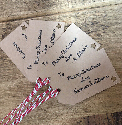 10 X Personalised Christmas Gift Tags Labels Kraft Card • 3.99£