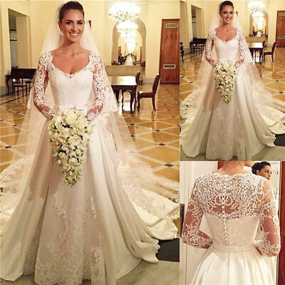 $ CDN238.38 • Buy Long Sleeves Wedding Dresses Lace Top A Line Bridal Gowns With Train White Ivory