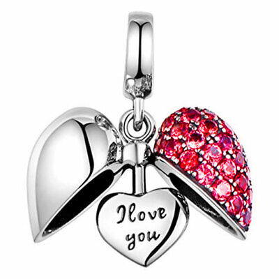 I Love You Charm 925 Silver Red Crystal Heart - Gift For Mum Sister Daughter Nan • 16.99£