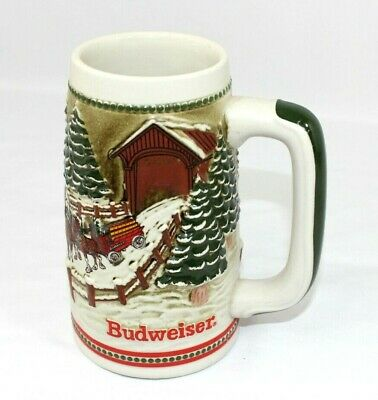 $ CDN26.18 • Buy Budweiser Christmas Stein Hitch Covered Bridge Winter 1984 Vintage UNUSED-NO BOX