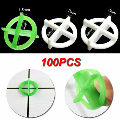 100PCS Cross Tile Leveling System Spacers Recyclable Plastic Tools 1.5/2/3mm • 5.77£