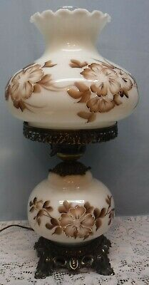 $ CDN152.23 • Buy Vintage GWTW Table Lamp White Milk Glass With Brown Flowers