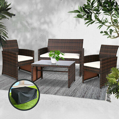 AU348.18 • Buy Outdoor Garden Furniture Lounge Setting PE Wicker Sofa Table Set Chairs Cover