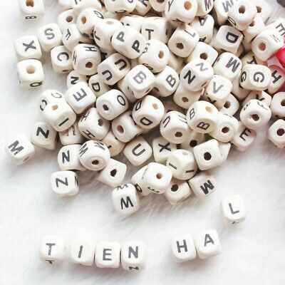 £3.28 • Buy 100pcs Wooden Alphabet Beads Letter Bead For Toys Bracelet Jewelry DIY Accessory