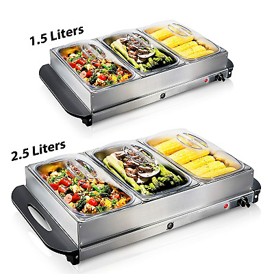 1.5/2.5l-electric Food Warmer Buffet Server,adjustable Temperature Hotplate Tray • 27.89£