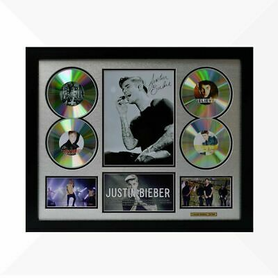 AU110 • Buy Justin Bieber Signed & Framed Memorabilia - 4 CD - Silver/Black Limited Edition
