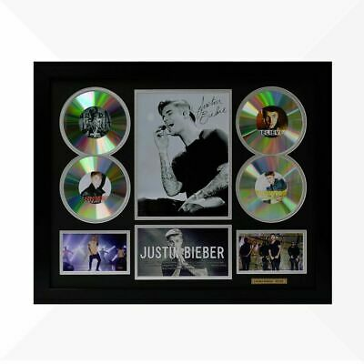 AU110 • Buy Justin Bieber Signed & Framed Memorabilia - 4 CD - Black/Silver Limited Edition
