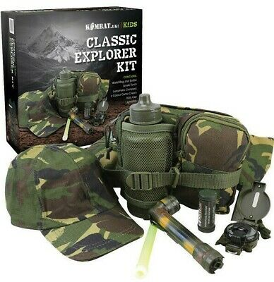 £29.99 • Buy Gift Boxed Boys Army Explorer Kit Cap Torch Bag Water Bottle Cream Kids Dpm Camo