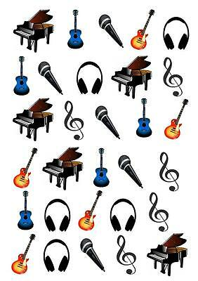 £1.99 • Buy 30 Music Notes Guitar STAND UP Cupcake Cake Topper Edible Paper Decorations