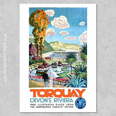 £5.50 • Buy GWR Torquay Poster #2 - Railway Posters, Retro Vintage Travel Poster Prints