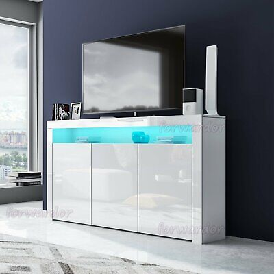Modern High Gloss LED Light Storage Display Cabinet Wood TV Stand Unit Sideboard • 140.99£