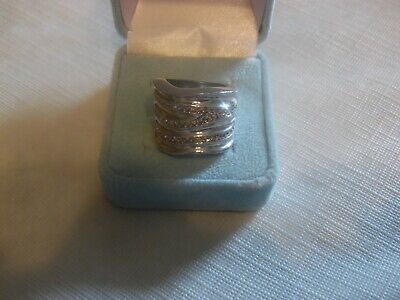 $ CDN12.62 • Buy Lia Sophia Silver Wide Band With Cut Crystals  Revved Up  Ring Size 7 NEW