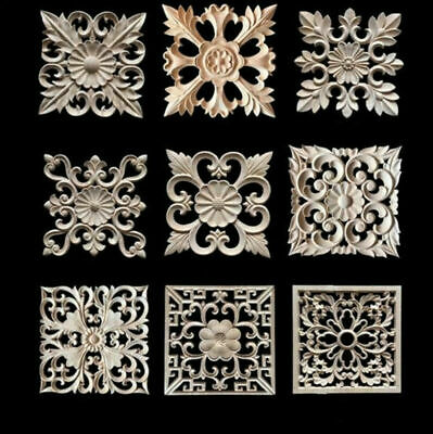 $12.68 • Buy Unpainted Wood Carved Onlay Applique Square Cabinets Door Furniture Home Decor