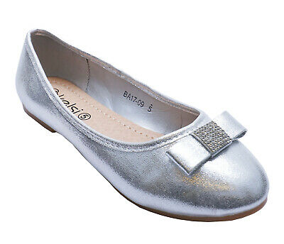 Womens Silver Diamante Flat Party Bridal Slip-on Wedding Prom Pumps Shoes 3-8 • 8.99£