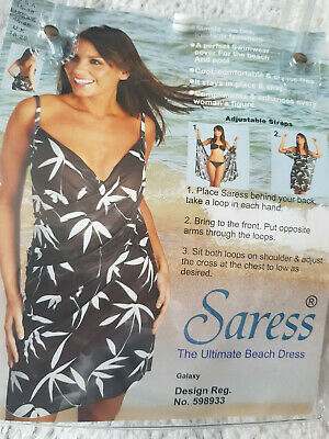 Saress Beach Dress Galaxy Black/cream Leaf XL/16 Beach Cover Up Swim Sarong • 9£