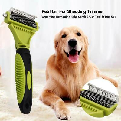 Pet Dogs Cats Hair Fur Deshedding Shedding Trimmer Grooming Rake Comb Brush Tool • 8.19£