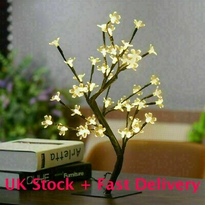 15LED Cherry Blossom Tree Bonsai Light Table Bedside Lamp Rooms Party Decor Gift • 10.59£