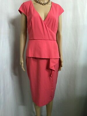 AU24 • Buy Asos Size 14 Coral Peplum Dress