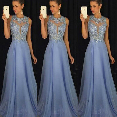 £14.52 • Buy Women Formal Wedding Bridesmaid Evening Party Ball Prom Gown Long Cocktail Dress