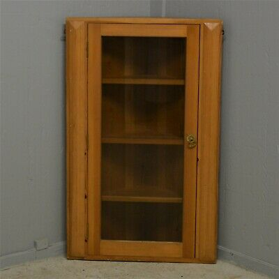 Solid Pine Wooden Corner Cabinet Wall Mounted Glass Door Delivery Available • 60£