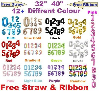 40  32  Giant Foil Number Balloons Birthday Wedding Party Decor 12 Diff Color🎈 • 3.99£