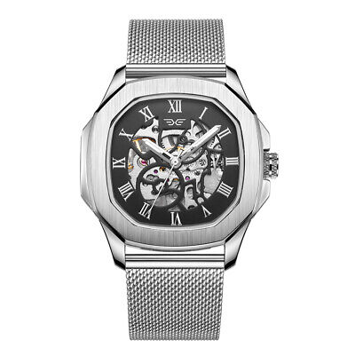 Men's 42mm Automatic Watch Skeleton Mechanical Watches Rotary Silver Timepiece • 39.99£