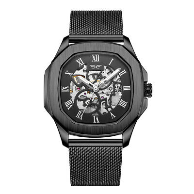 Men's 42mm Automatic Watch Skeleton Mechanical Watches Rotary Black Timepiece • 39.99£