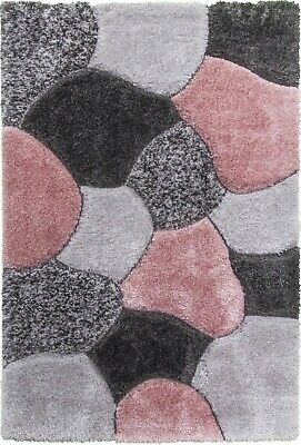 Grey Pink 3D Shaggy Floor Rug Silky Thick Super Soft Luxurious 50mm Deep Pile  • 99.95£