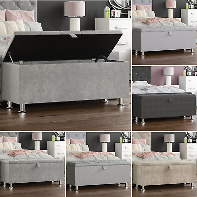 Storage Ottoman Seat Stool Bench Chest Toy Box Pouffee Bedroom Footstool Trunk • 64.95£